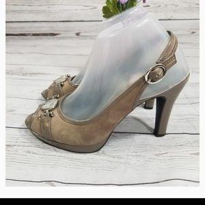 ANNE Klein Tan Suede PEEP TOE Heels Pumps 7.5